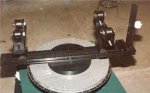 Roller Vee Fixture on a mass properties measurement system